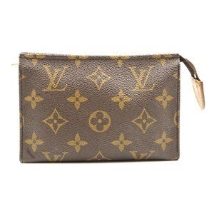 Pouch Flat Cosmetic Brown Monogram Canvas Clutch